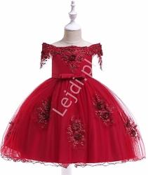 Hiszpanka suknia dla dziewczynki zdobiona koronką i kwiatami 3d 057