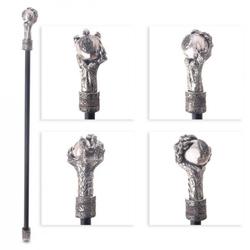 Elegancka metalowa laska do podpierania - smocza łapa z kulką