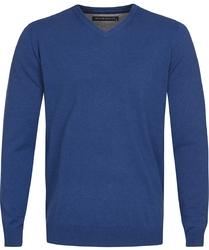 Niebieski sweter  pulower v-neck z bawełny  XL