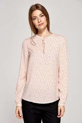 Wizytowa prosta bluzka z łezką na dekolcie - wzór różowa