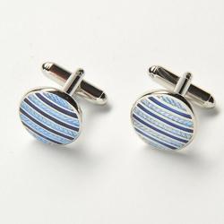 Eleganckie spinki do mankietów okrągłe w niebieskie paski