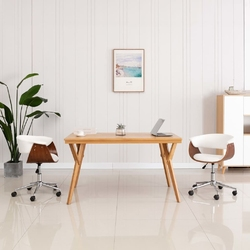Vidaxl obrotowe krzesło biurowe, białe, gięte drewno i sztuczna skóra