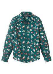 Koszula chłopięca z długim rękawem i bożonarodzeniowym nadrukiem, slim fit bonprix głęboki zielony z nadrukiem