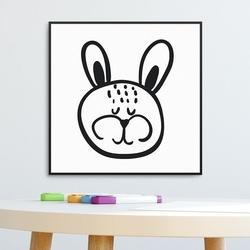 Sweet rabbit - plakat dla dzieci , wymiary - 60cm x 60cm, kolor ramki - biały