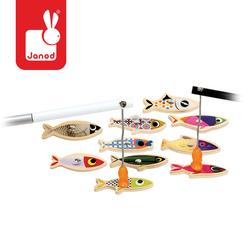 JANOD Zestaw do łowienia magnetyczny drewniany 10 rybek Sardynka