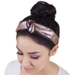 Opaska do włosów miedziana cekiny matowe węzeł