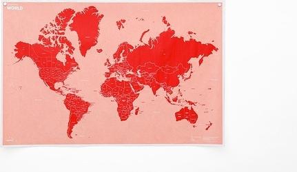 Mapa crumpled world z nazwami państw