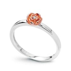 Staviori pierścionek. 1 diament, szlif brylantowy, masa 0,01 ct., barwa h, czystość i1. białe złoto 0,585.  pokryte różowym złotem średnica korony ok. 5 mm. szerokość obrączki ok. 2 mm.