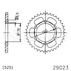 Zębatka tylna stalowa jt 29023-41, 41z, rozmiar 525 2301359 sachs roadster 650