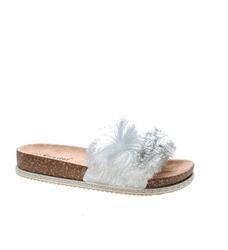 Pantofelek24.pl   damskie klapki z pomponem white