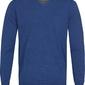 Niebieski sweter  pulower v-neck z bawełny  m