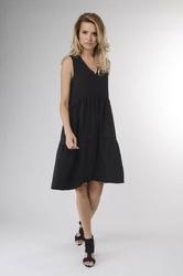Czarna zwiewna letnia sukienka z falbankami