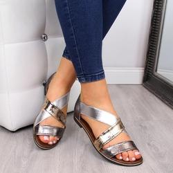 Sandały damskie wsuwane na gumkę złote jezzi