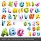 Plakat na papierze fotorealistycznym uroczy 3d-alfabet w kolorze candy czapki i cyfry