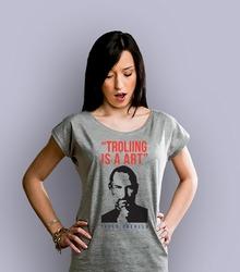 Trolling is a art t-shirt damski jasny melanż xxl