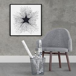 Gwiazda - plakat designerski , wymiary - 70cm x 70cm, kolor ramki - czarny