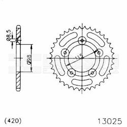 Zębatka tylna stalowa JT 50-13025-48, 48Z, rozmiar 420 2301221 KTM SX 65