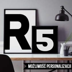 Litery, inicjały - plakat spersonalizowany , wymiary - 50cm x 70cm, kolor ramki - biały, kolorystyka - biała litera na czarnym tle, położenie - po pra