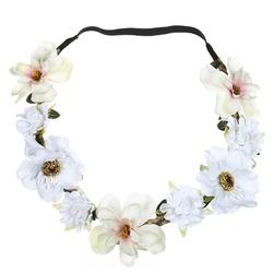 Wianek ozdoba do włosów kwiaty. biały - biała