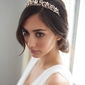 Diadem ślubny korona kryształy różowe złoto tiara