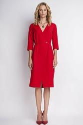 Czerwona smokingowa sukienka z dekoltem v