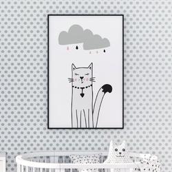 Plakat dla dzieci - stylish kitty , wymiary - 70cm x 100cm, kolor ramki - biały