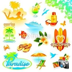 Fotoboard na płycie Zestaw wypoczynkowy tropikalny, podróży i egzotyczne wakacje wektor