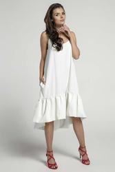 Ecru zwiewna sukienka z asymetryczną falbanką na cienkich ramiączkach