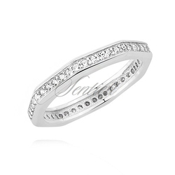 Srebrny pierścionek pr.925 oktagon z cyrkoniami