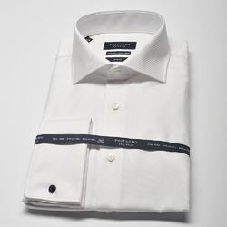Elegancka biała koszula męska taliowana SLIM FIT, mankiety na spinki 40