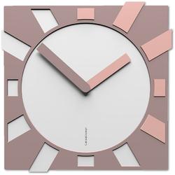 Kwadratowy zegar na ścianę do salonu Jap-o CalleaDesign biały  jasnoróżowy 10-023-32