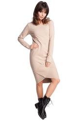 Sukienka sportowa z asymetrycznymi ściągaczami na dole beżowa b007
