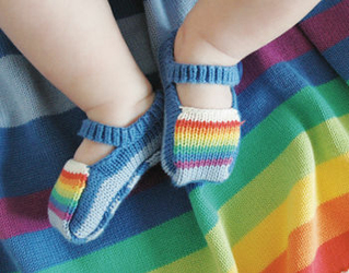 Tęczowe Buciki Niebieskie Rainbow Booties Blue