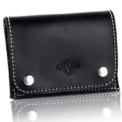 Skórzany cienki portfel wizytownik solier sw18 czarny vintage - czarny vintage