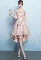 Wieczorowa sukienka z wydłużonym tyłem, dla druhny, na studniówkę, wesele