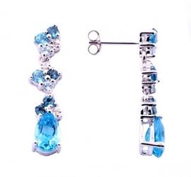 Błękitny ptak złote kolczyki niebieske topazy diamenty długie wiszące 2,85 ct.