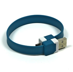Kabel USB 2.0, USB A  M- USB micro M, 0.25m, niebieski, Logo, blistr, na nadgarstek