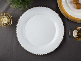 Podkładka pod talerz  na stół okrągła altom design biała ze złotymi perełkami 33 cm