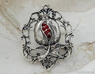 Czerwony mak - srebrna broszka z rubinami