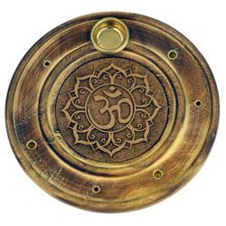 Podstawka do kadzideł grawerowana okrągła - znak OM