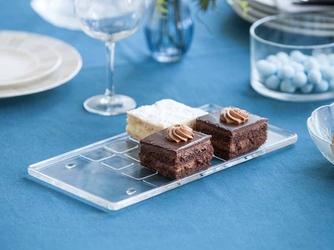 Talerz taca półmisek na ciasto szklany huta jasło na nóżkach prostokątny 32 cm