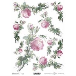 Papier ryżowy itd a4 r1405 różowe róże