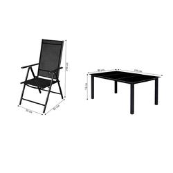 Zestaw ogrodowy stół + 8 krzeseł delver czarny