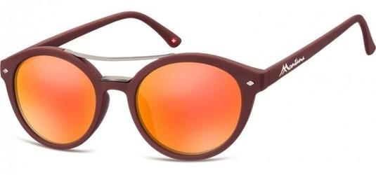 Okulary okrągłe brązowe lenonki lustrzane ms21f