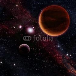 Board z aluminiowym obramowaniem dwie czerwone planety