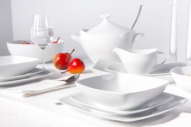 Zestaw obiadowy dla 6 osób kwadratowy porcelana mariapaula moderna biała 24 elementy