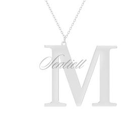 Srebrny naszyjnik pr.925 literka m - rodowanie  m