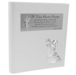 Album chrzcielnica pamiątka chrztu skóra srebro 925 dedykacja