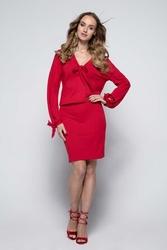 Czerwona Sukienka Casual z Wiązaniami przy Dekolcie i Rękawach