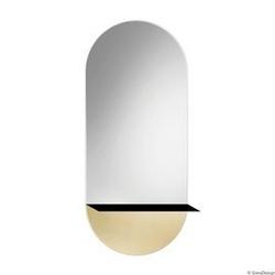 Gieradesign :: lustro ścienne novi owalne złote z metalową półką 40x105 cm
